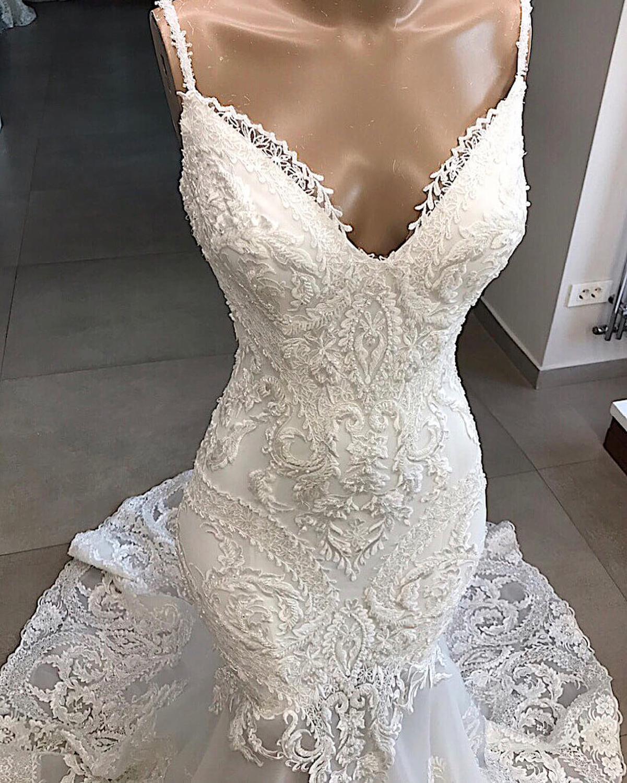 Image 3 - Vestidos De Novia White Mermaid Wedding Dress Backless Sexy V Neck Lace Wedding Gowns Handmade Appluques Bridal Dress gelinlik-in Wedding Dresses from Weddings & Events