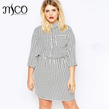 Elegant Spring 3 4 Sleeves Shirt Dress Basic Gingham Check Office Ladies  Long Blouse Ultimate a6b2c7edcd66