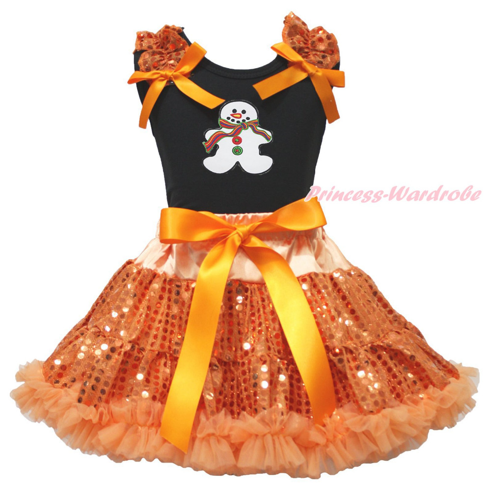 Christmas Ginger Snowman Black Top Orange Bling Sequins Girls Skirt Outfit 1-8Y halloween orange top ruffle bow pumpkin satin trim skirt girl outfit set nb 8y mapsa0866