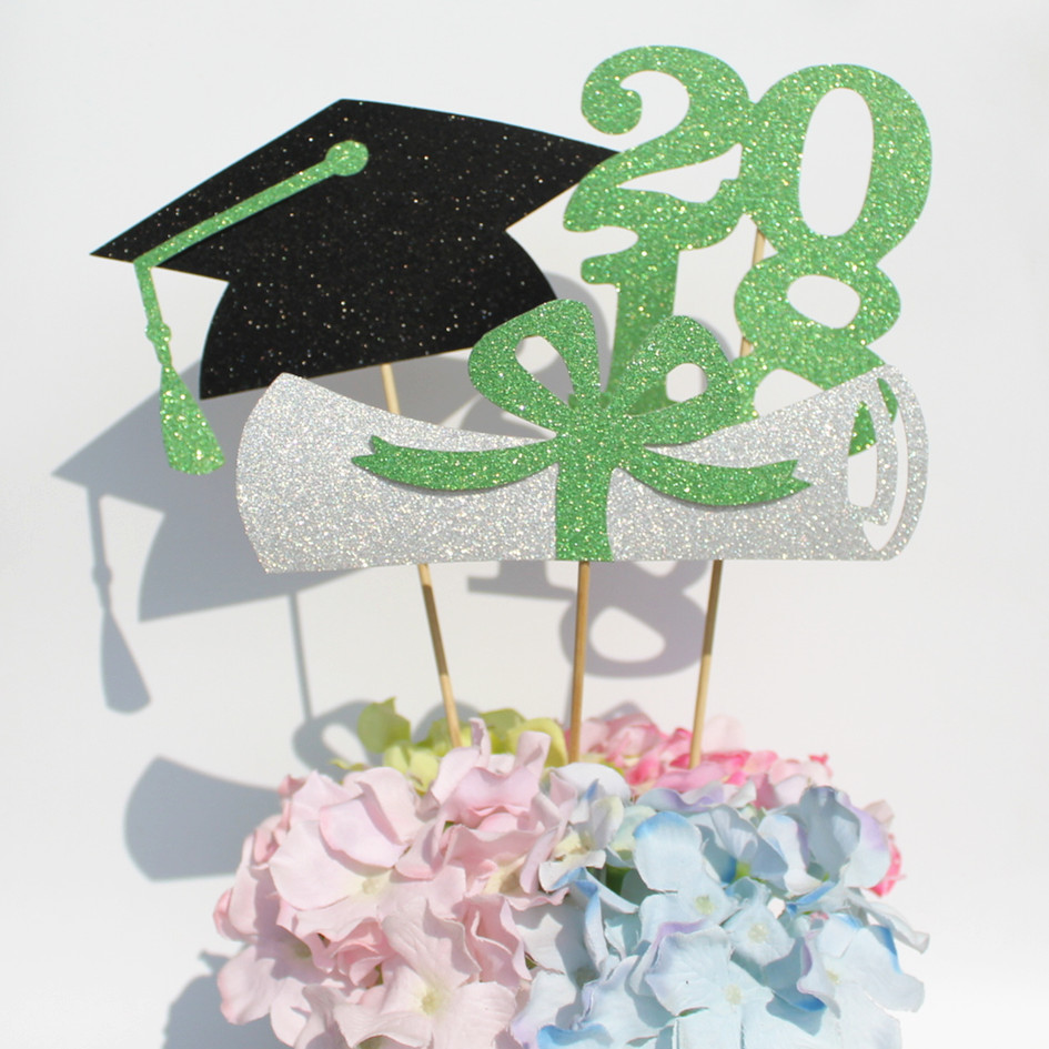 Class of 2018 graduation celebration party decoration green black centerpieces senior High School College graduate photo props