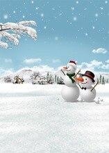 Boneco de neve da Neve do Inverno Fundos Vinil pano de Computador impresso backdrops natal de Alta qualidade