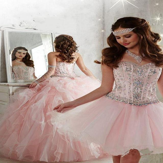 6a104dd8afb Light Pink Detachable Ball Gown Quinceanera Dresses Sweetheart Crystal  Beaded Organza Full Length Masquerade Sweet 16 Dresses