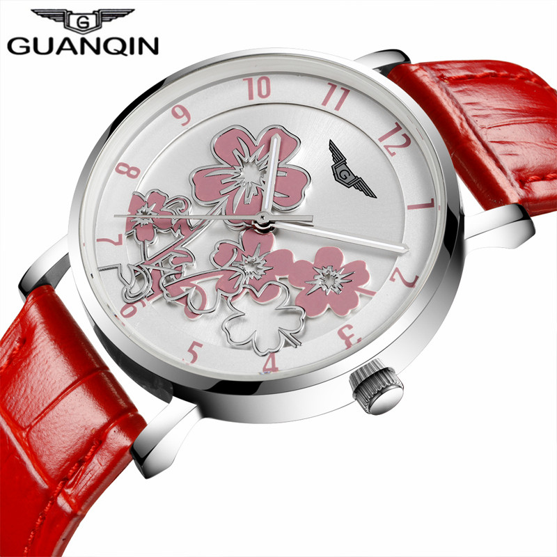 Women Fashion Brand GUANQIN watch Luxury Flower Design Dial Quartz Watch  Ladies Red Leather Wristwatch female dress clock hours-in Women s Watches  from ... 4cd9e75513d9