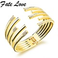 Vintage Gold Plated Open Bangle Crystal Geometric Open Heavy  Bangle Women Cuff Bracelet Multi Layer Wedding Bangle FL508