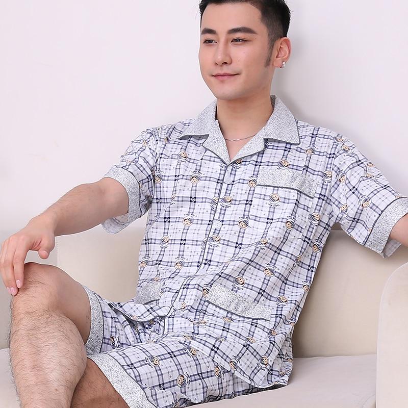 Men's Pajamas Summer Style Short Sleeve Sleepwear Cotton Plaid Cardigan Pyjamas Men Lounge Pajama Sets Plus Size M - 4XL Sleep