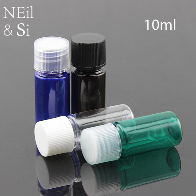 bde1f3716b15 US $15.83 12% OFF 10ml Plastic Cosmetic Bottle Refillable Makeup Cream  Lotion Container Empty Nutrient Sample Sack Bottles Blue Green Black  Clear-in ...