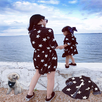 Freeshipping 2016 Family Match Outfit PARENT CHILD Outfits Mother Doughter Son Girl Pet One Piece Dresses