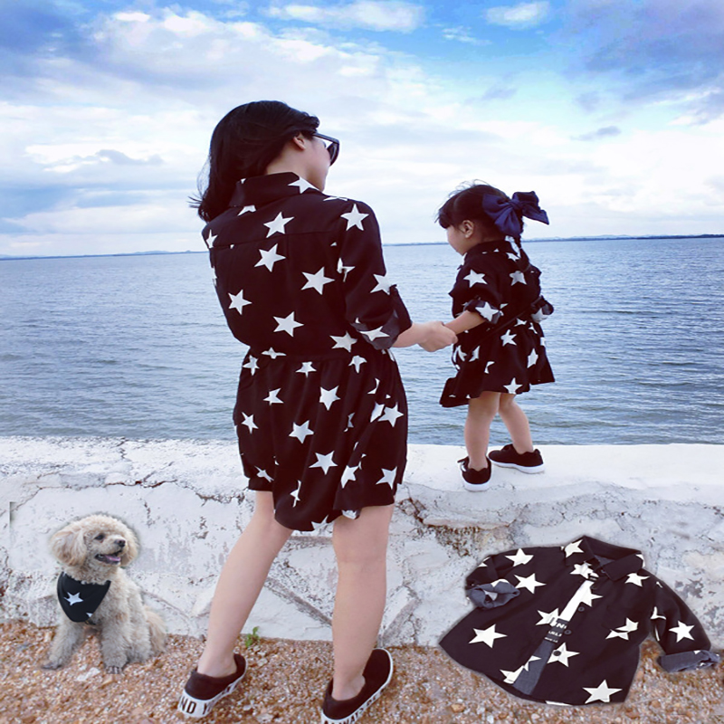 Freeshipping 2016 family match outfit PARENT CHILD outfits mother doughter son girl pet one piece dresses shirtdress family look
