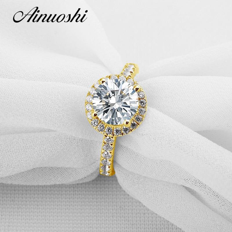 AINUOSHI 10K Yellow Gold Wedding Ring Customized Halo Simulated Diamond Fine Jewelry Luxury 2 ct Round Cut Women Engagement Ring
