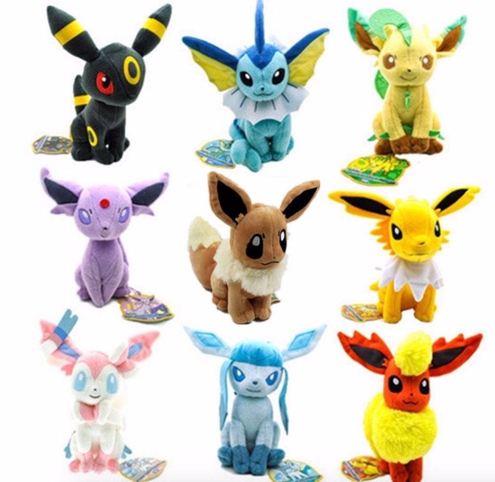 где купить Hot Eevee Plush Dolls 20cm Glaceon Leafeon Umbreon Espeon Jolteon Vaporeon Flareon Eevee Sylveon Toy for Kids дешево