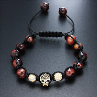 d4f296f8ffad HAWSON Men S Beads Bracelet Natural Red Tiger Eye Stone Strand Bracelets  With Skull Skeleton Accessory