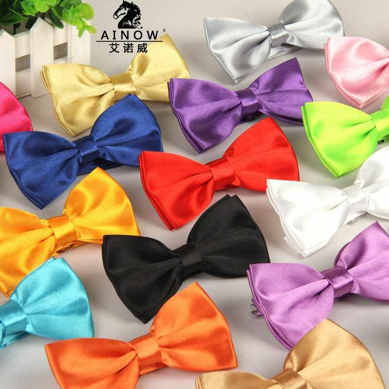 20 renkler Katı Beyefendi Düğün Parti Evlilik Kelebek Cravat Yeni Erkekler Parlak Renk papyon Ayarlanabilir Iş Bowties G
