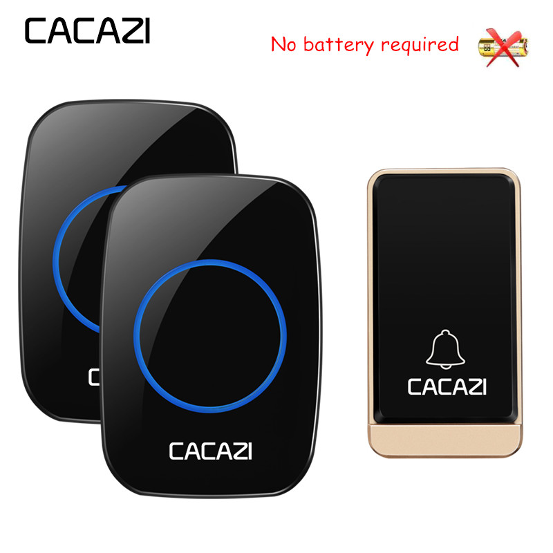 CACAZI No battery Ruquired Wireless Waterproof Doorbell LED light EU Plug Self-powered Home door bell 1 2 Button 1 2 ReceiverCACAZI No battery Ruquired Wireless Waterproof Doorbell LED light EU Plug Self-powered Home door bell 1 2 Button 1 2 Receiver