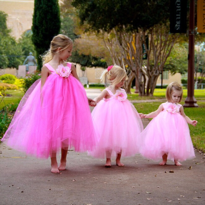 2017 New Arrival Flower Girl Dresses With Flower High Quality Ball Party Pageant Communion Girls Kids Dress For Birthday Wedding