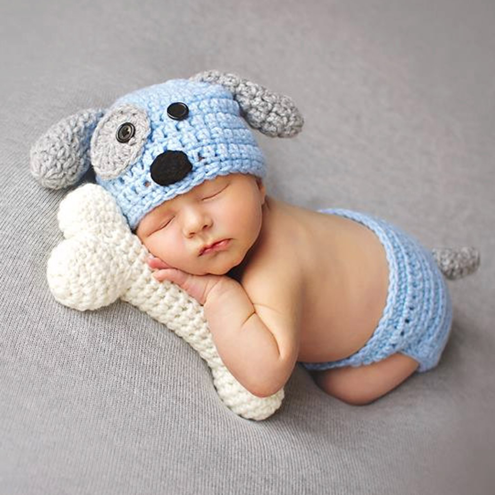 Newborn Photography Props Baby Dog Hat Costume Set with Bone White Blue Knitted Beanies Infant Photography Accessories 4k dp