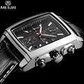 Megir Men Clock Man Chronograph Mens Watches Top Brand Luxury Quartz Square Black Male Sports Army Wrist Watch Man Montre Homme