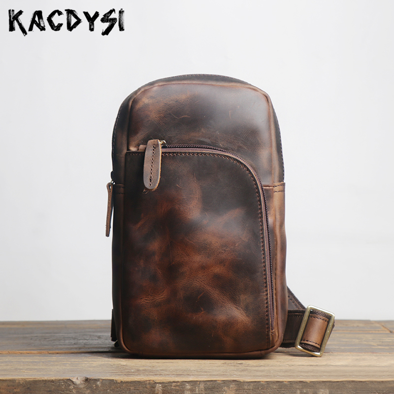 Handmade Crazy Horse Leather Soft Men s Chest Pack Retro Classic Bosom Bags Genuine Cow Leather