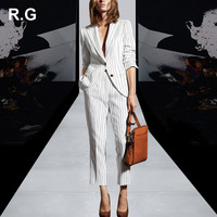 RockGeorge Elegant OL Work To Wear Blazer Jacket Pants Suit Women Stripe White Office Ladies Suits