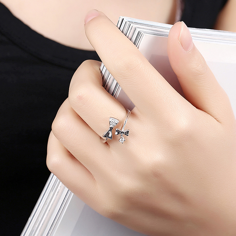TIGRADE 925 Sterling Silver Resizable Ring Bowknot Design Adjustable Size Gift Rings For Women anillos plata 925 para mujer in Rings from Jewelry Accessories