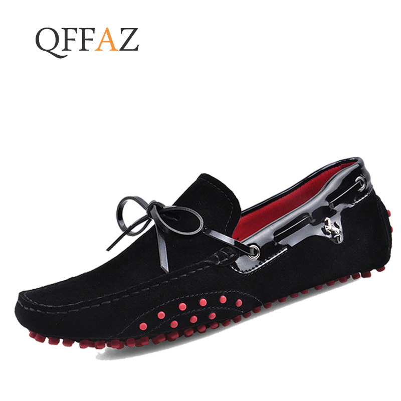 QFFAZ Men Casual Shoes Genuine Leather Moccasin Loafers Masculino Handmade Slip On Flat Boat Shoes Male Footwear