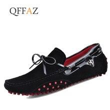 купить QFFAZ Men Casual Shoes Genuine Leather Moccasin Loafers Masculino Handmade Slip On Flat Boat Shoes Male Footwear по цене 2955 рублей