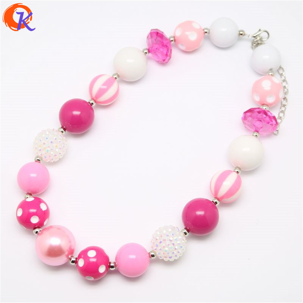 Cordial Design High Quality Fashion Kids Jewelry Chunky Bubblegum Pink Bead Handmade Necklace For Valentine's Day CDNL-410102