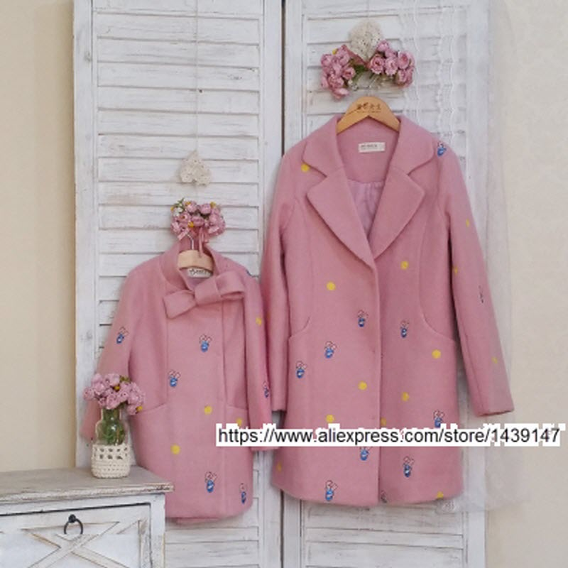 Children clothing Mother Daughter very nice soft Coat Embroidery , 2-10 years old Child Girl clothes , Women plus Large size 4XL children clothing mother and daughter dress red printing 2 10 years old child little baby girls clothes women large size 4xl