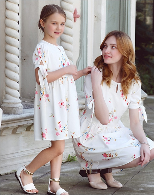 Summer family look Kids girls 100-160cm Clothes children short sleeve floral dress mother and daughter matching pleated dresses цель вижу