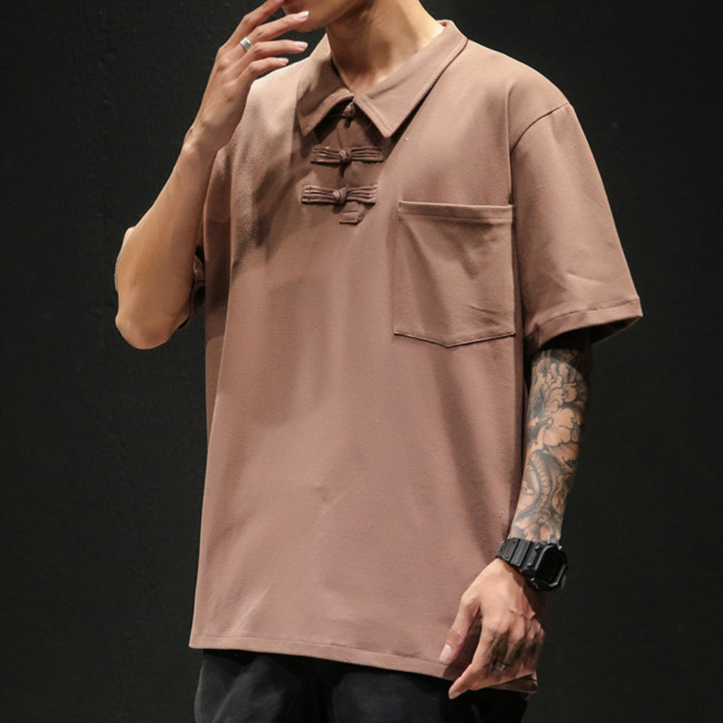 Men's   Polo   Shirt Summer Casual Vintage Style Patchwork Lapel Short Sleeve shirt Casual Slim Fit Tops 2019 Men Clothing