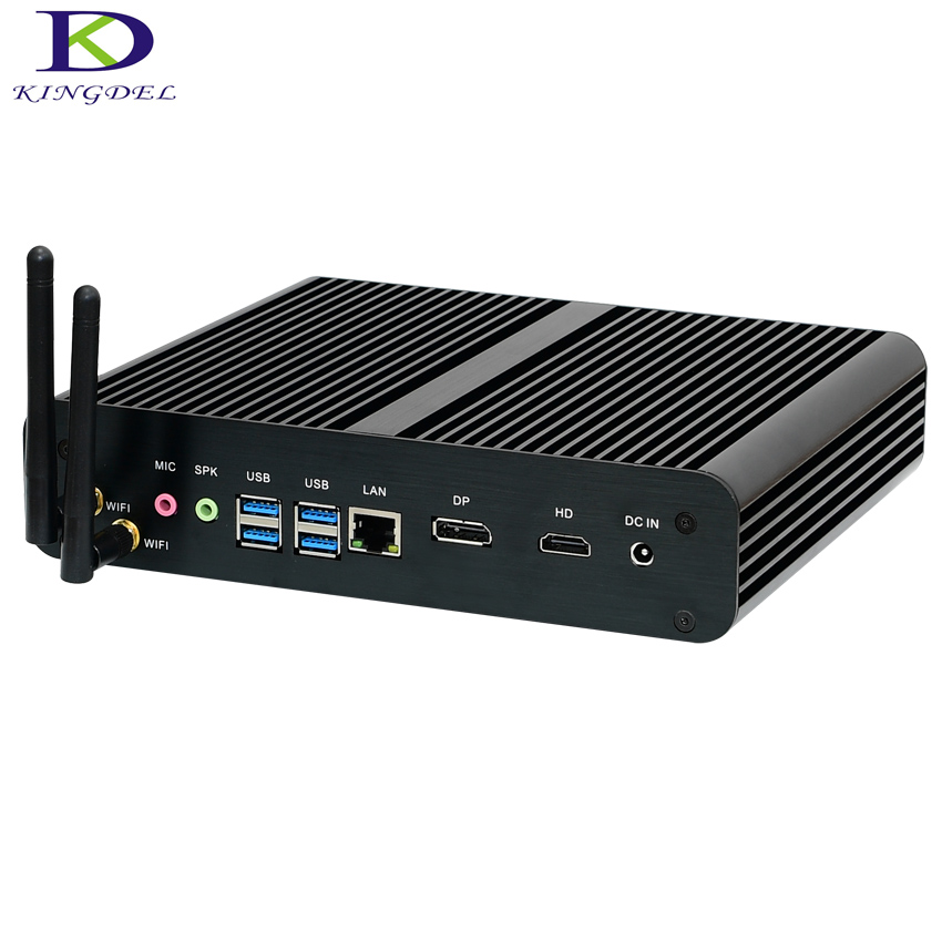 Newest Fanless Desktop PC Core I7 7500U Dual Core Intel HD Graphics 620, 4K HTPC HDMI&DP Mini PC