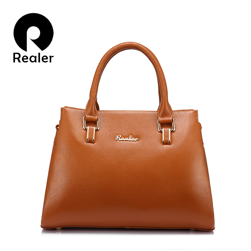 REALER genuine leather women handbags female casual totes ladies crossbody bags high quality solid designs letter