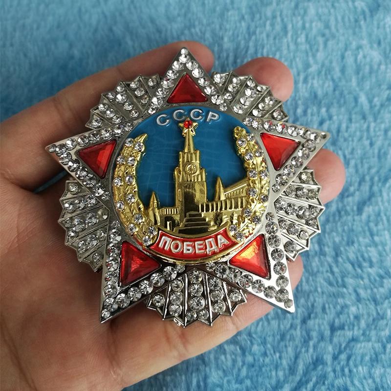 WW2 Grande Vitória Soviética Medalha de Honra DA SEGUNDA GUERRA MUNDIAL URSS Russo CCCP Ordem Prêmio Vitória Pins Bagde Incrustação do Diamante Medalha de Esmalte Presentes