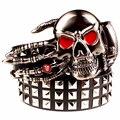 2017 мужская Мода заклепки ремень Панк-рок пояса череп голова призрака коготь heavy metal широкий ремни хип-хоп большой заклепки ремень женщины подарок