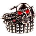 2017 Fashion men's rivet belt Punk rock belt skull head ghost claw heavy metal wide belts hip hop big rivet belt women Gift