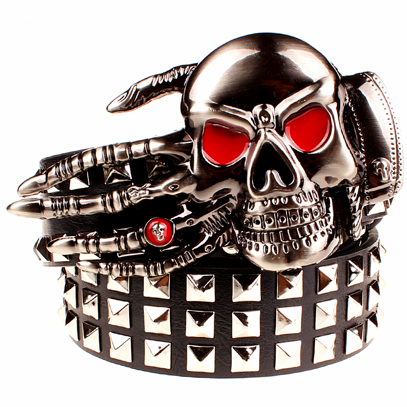 2017 Fashion men's rivet belt Punk rock s