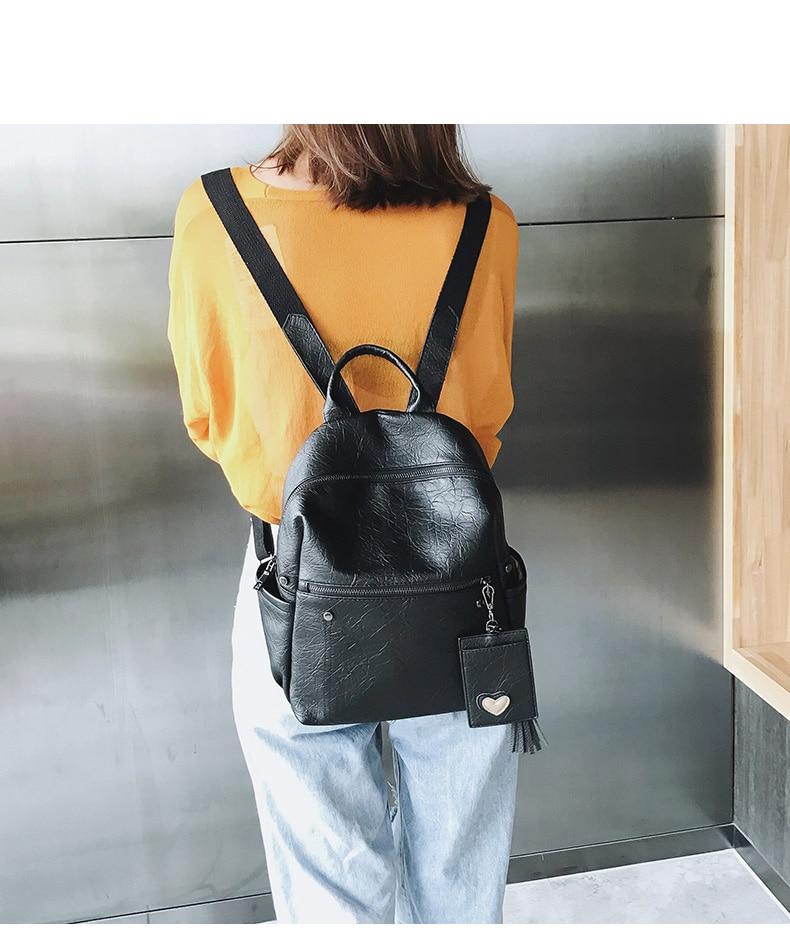 HTB1taJpcUGF3KVjSZFoq6zmpFXaE Women Leather Backpack Teenage Girls School Bag Female Vintage Large Solid Soft Backpacks Mochila Black Back Pack Bags New XA86H