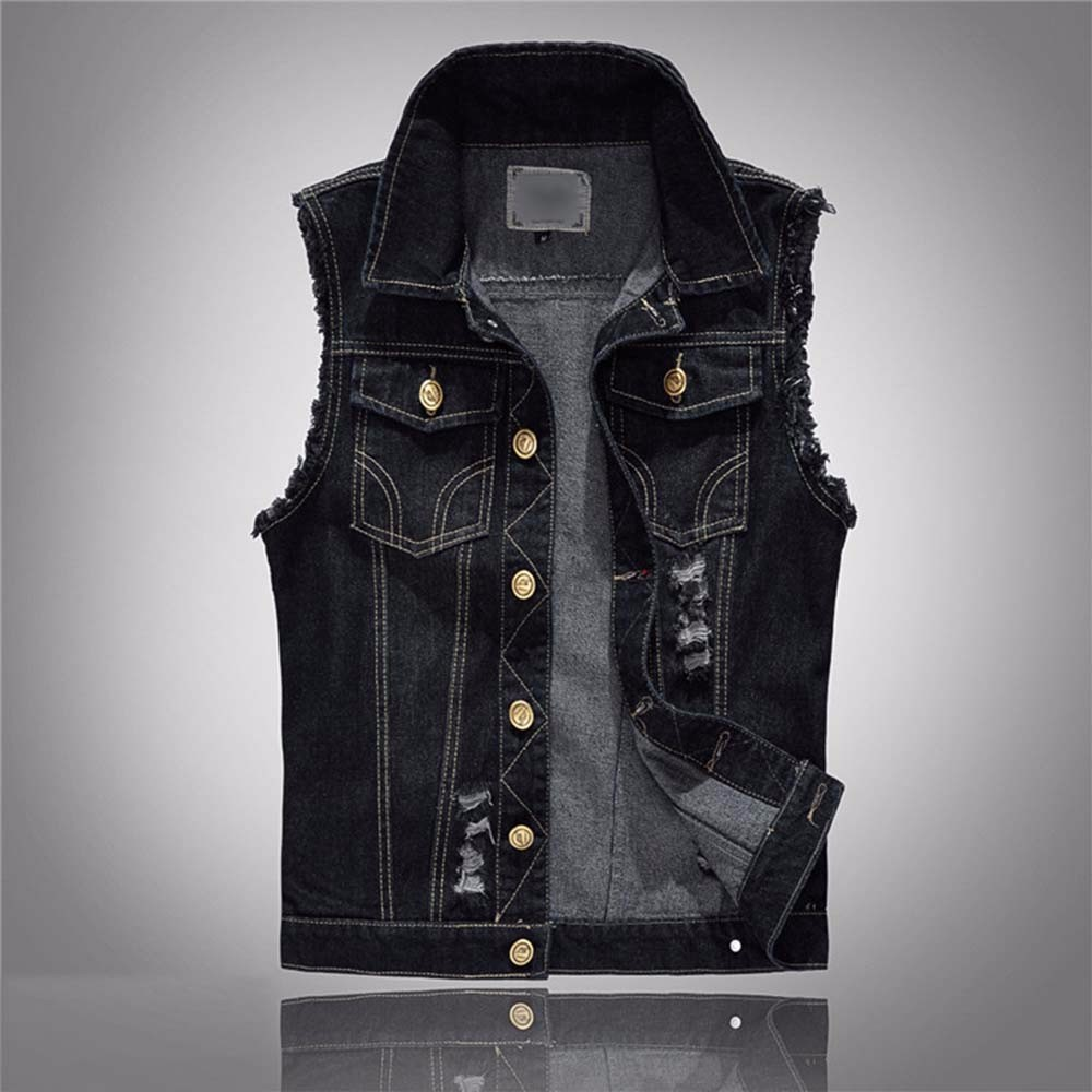 Denim Vest Mens Sleeveless Jackets Fashion Washed Jeans Waistcoat Mens Tank Top Male Ripped Vests Jacket Plus Size