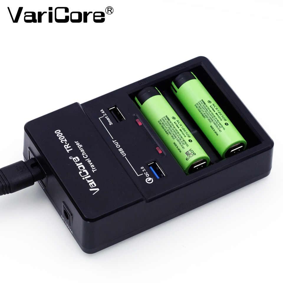 جديد varicore TR-2000 شاحن البطارية و تهمة سريع 3.0 ل 18650 26650 بطاريات aa aaa و qc 3.0/usb 5 فولت المحمول الأجهزة.