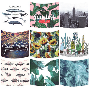Image 1 - Nordic Headboard Cartoon Cactus Tapestry Wall Hanging Tropic Banana Leaf Whale Fish Sunflower Home Decoration Background Cloth