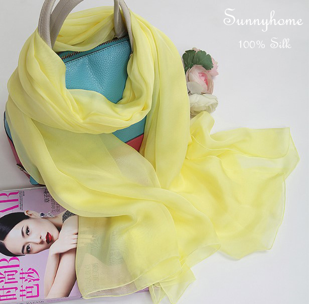 Light Yellow 100% Silk Soft shawls and scarves Multifunctional Headwear Newborn Wrap Summer Beach h brand luxury scarf Pashmina