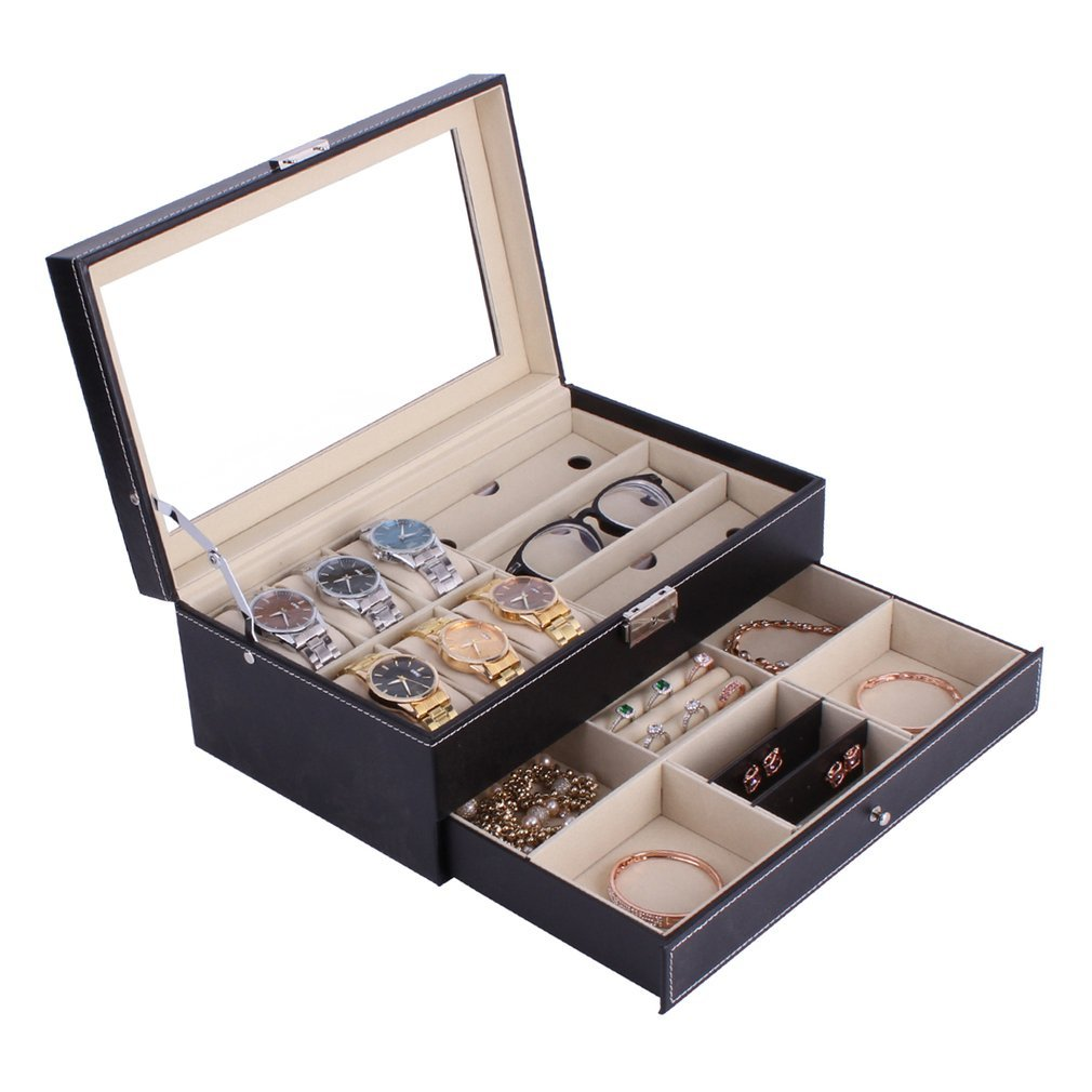 PU Leather/Wood Watch Jewelry Necklace Ring Case Box Storage Display Container Holder Tray Zippere Travel Watch Collector