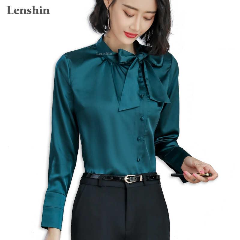 535c8507f837fcd Lenshin Новый ткань Тонкий атласная рубашка для женщин Блузка Элегантный  Топы корректирующие женский с длинным рукавом