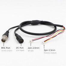 CCTV Камера 5-core видео кабель с блоком питания постоянного тока для Вход+ выход BNC для видеонаблюдения Камера(3pin 1,5 мм+ 2pin 2,0 мм