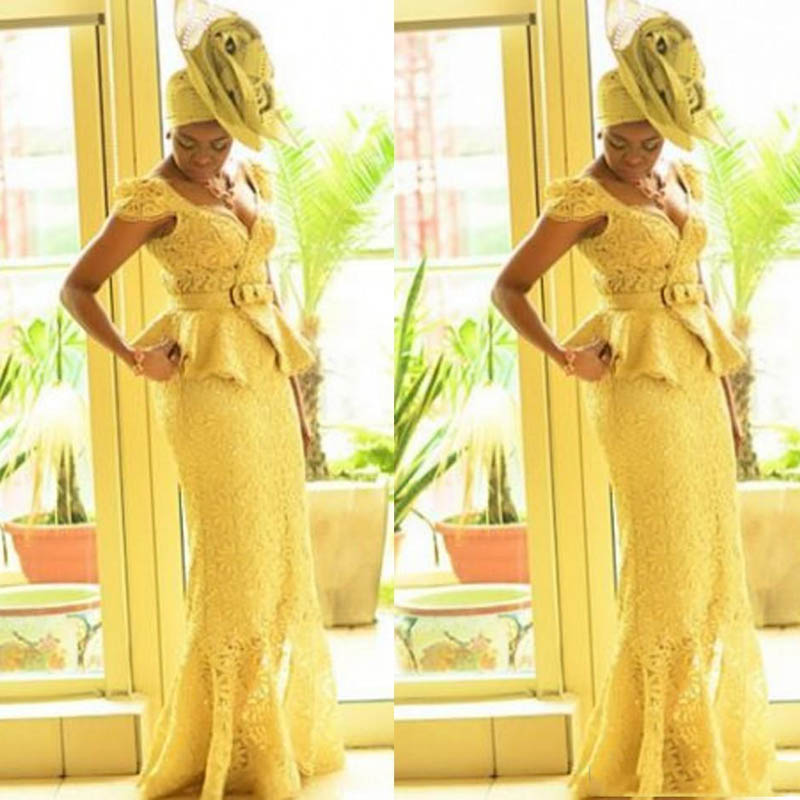 Aso Ebi Style African   Prom     Dresses   2019 Yellow Lace Mermaid Nigerian Evening Gowns Ghanaian Fashion   Prom   Party   Dress   Custom Made
