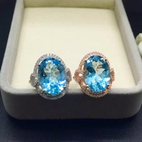 Big Size Baby Blue Topaz 12 16 Concave Cut Blue Topaz Ring In Simple And