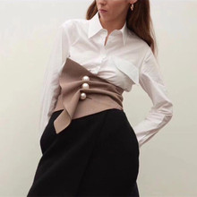 Moda irregular xadrez tridimensional pérola fivela cinto vintage cintura alta magro feminino cummerbund