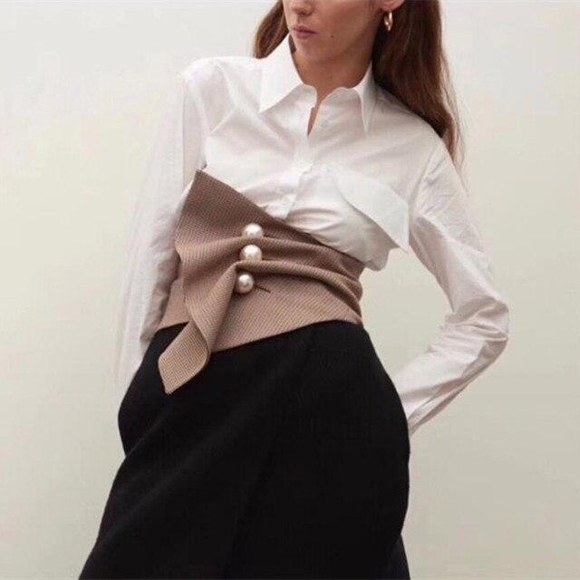 אופנה סדיר משובץ שלושה ממדי פרל אבזם חגורת בציר גבוה מותן Slim נשים אבנט