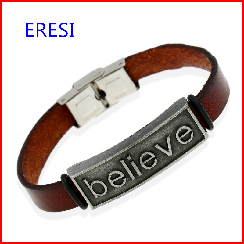 Made in China Believe Engraved Leather Bangle Fashionable Mens
