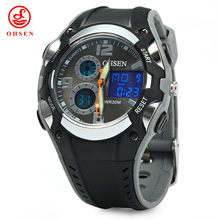 Frete Grátis OHSEN Mens Waterproof Sport Watch LED Backlight Analógico Alarm & Digital Multifunction Watch AD1309(China)