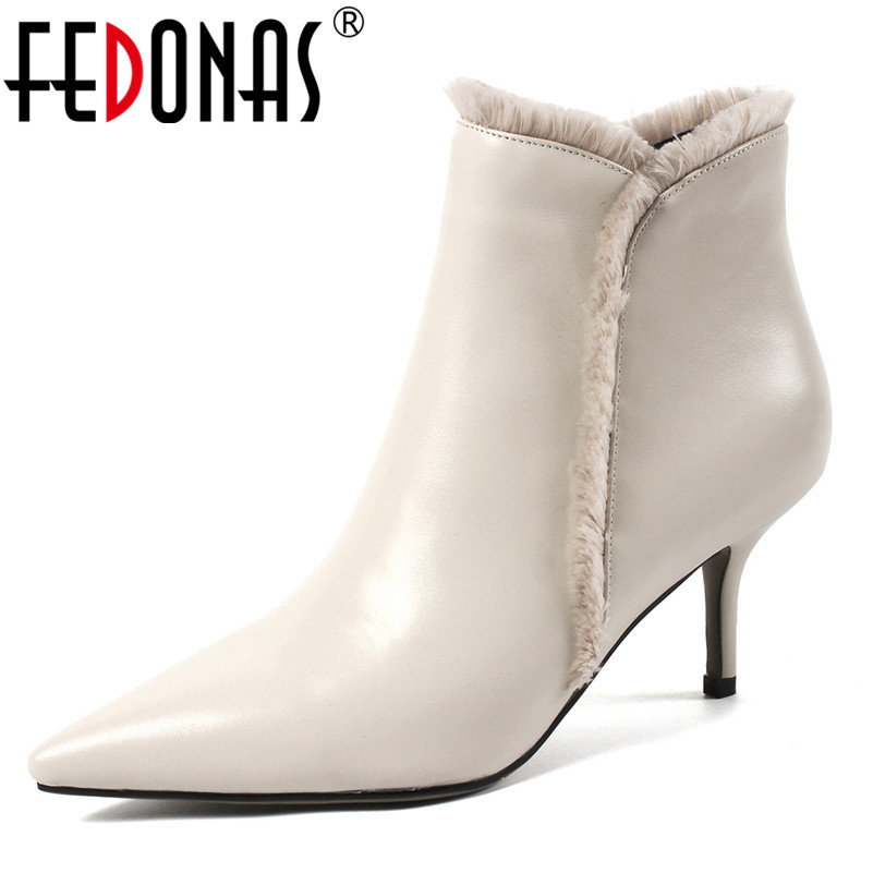 FEDONAS Fashion Ankle Boots Women Genuine Leather High Heels Martin Shoes Woman Sexy Pointed Toe Office Pumps Ladies Basic Boots все цены